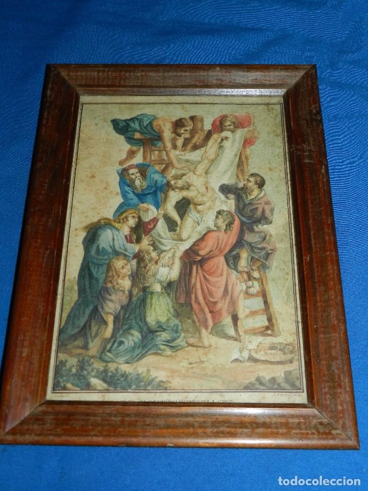 Arte: (M) ACUARELA RELIGIOSA EL DESCENDIMIENTO DE LA CRUZ , FIRMA J VALLS Y RIBA ,ACUARELA DEL S.XIX - Foto 5 - 91434945