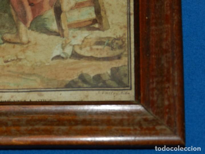 Arte: (M) ACUARELA RELIGIOSA EL DESCENDIMIENTO DE LA CRUZ , FIRMA J VALLS Y RIBA ,ACUARELA DEL S.XIX - Foto 7 - 91434945