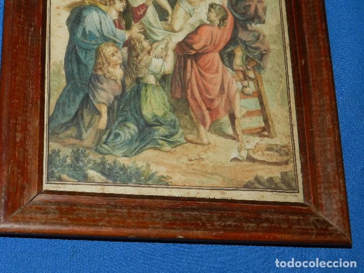 Arte: (M) ACUARELA RELIGIOSA EL DESCENDIMIENTO DE LA CRUZ , FIRMA J VALLS Y RIBA ,ACUARELA DEL S.XIX - Foto 8 - 91434945