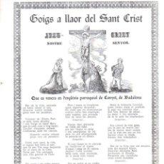 Arte: GOIGS A LLAOR DEL SANT CRIST EN CANYET, BADALONA (1972). Lote 91502620