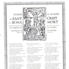 Arte: GOIGS A LLAOR DEL SANT CRIST DE LA BONA MORT -LA DOMA, LA GARRIGA (1970). Lote 91503055