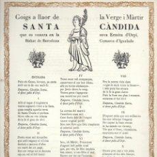 Arte: GOIGS A LLAOR DE SANTA CÀNDIDA - ORPÍ IGUALADA (1964) NUMERAT. Lote 91597825