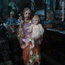 Arte: EXCELENTE SAN JOSE DE ESTUCO DE OLOT DORADO AL ORO FINO CON CORONAS. Lote 91602395