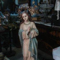 Arte: MAGNIFICA INMACULADA DE ESTUCO DE OLOT CON CORONA. Lote 91602565
