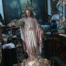 Arte: VIUDA DE REIXACH CRISTO REY CON LA CORTE CELESTIAL ESTUCO DE OLOT. Lote 91602840