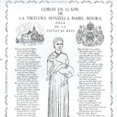 Arte: GOIGS COBLES EN LLAOR DE LA VIRTUOSA DONZELLA ISABEL BESORA DE REUS (1965). Lote 91631635