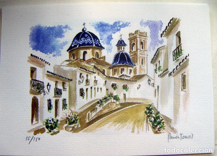 Arte: Carpeta con 4 litografias reproducciones en acuarela de Altea firmadas por Ramón Tomás - Foto 6 - 91729210