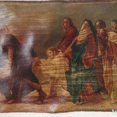 Arte: LIENZO DESCENDIMIENTO ENTIERRO DE JESÚS PINTADO SOBRE LIENZO NO TIENE BASTIDOR MIDE 71 X 101 CMS. Lote 91806630