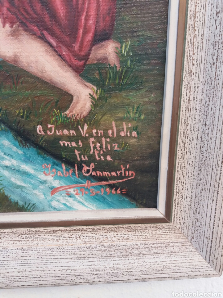 Arte: Bonita pintura religiosa al oleo sobre tela firmada año 1966 - Foto 3 - 91862590