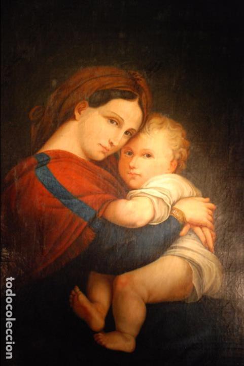 ESPECTACULAR OLEO SOBRE LIENZO COPIA DE LA VIRGEN DE LA SILLA O MADONNA DELLA SEGGIOLA - RAFAEL- (Arte - Arte Religioso - Pintura Religiosa - Oleo)