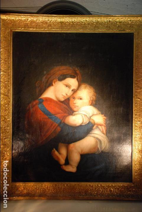 Arte: ESPECTACULAR OLEO SOBRE LIENZO COPIA DE LA VIRGEN DE LA SILLA O MADONNA DELLA SEGGIOLA - RAFAEL- - Foto 2 - 92182315