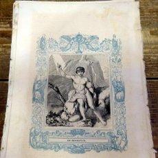 Arte: 1852 ANTIGUO GRABADO ORIGINAL CON ORLA AZUL DE SAN JUAN BAUSTISTA, 166X266 MM. Lote 92341215