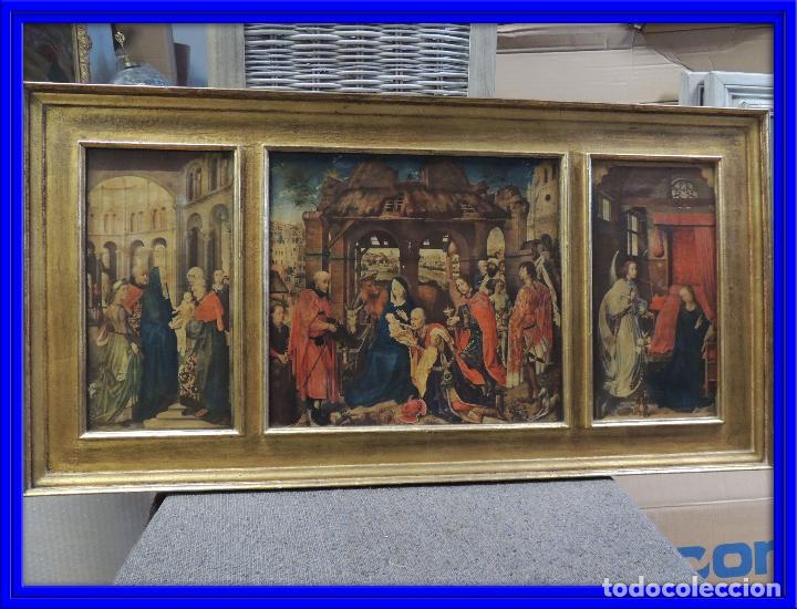 TRIPTICO RELIGIOSO LAMINA SOBRE MADERA (Arte - Arte Religioso - Trípticos)