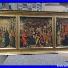 Arte: TRIPTICO RELIGIOSO LAMINA SOBRE MADERA. Lote 92479380