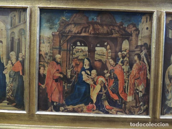 Arte: TRIPTICO RELIGIOSO LAMINA SOBRE MADERA - Foto 2 - 92479380