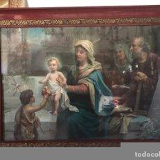 Arte: PRECIOSA CROMOLITOGRAFIA DE LA SAGRADA FAMILIA GRANDE ANTIGUA,114 X 87CM.. Lote 92719420