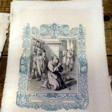 Arte: 1852 ANTIGUO GRABADO ORIGINAL CON ORLA AZUL DE SAN SILVERIO, PAPA Y MARTIR, 166X262 MM. Lote 92726260