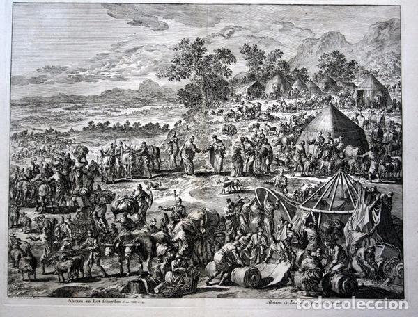 Arte: 1729 -GRABADO BIBLIA - ABRAHAM y LOT se separan - Luyken - GRABADO - 58x52cm - Covens et Mortier - Foto 8 - 67320753