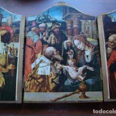 Arte: ANTIGUO TRIPTICO EN MADERA ABIERTO MIDE 27 X 20 CM. Lote 92879535