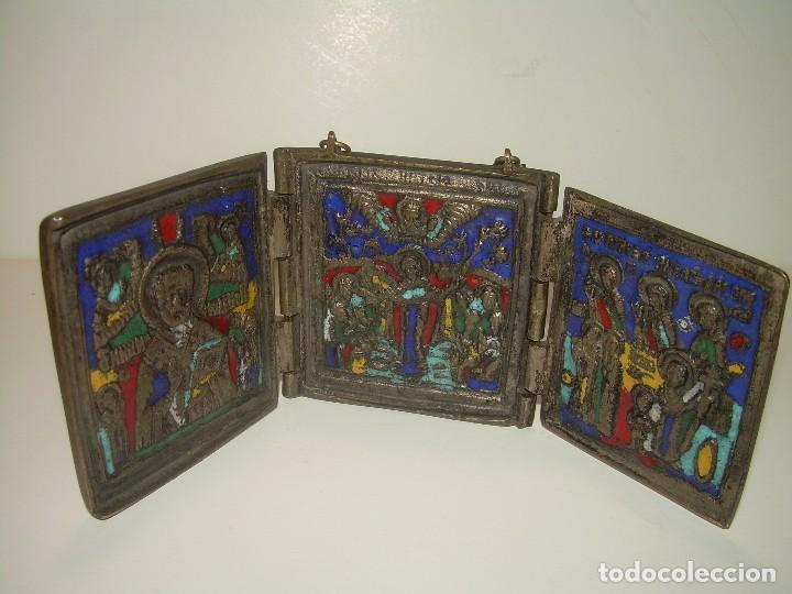 ANTIGUO ICONO TRIPTICO RELIGIOSO ......DE BRONCE ESMALTADO...SIGLO XIX. (Arte - Arte Religioso - Trípticos)
