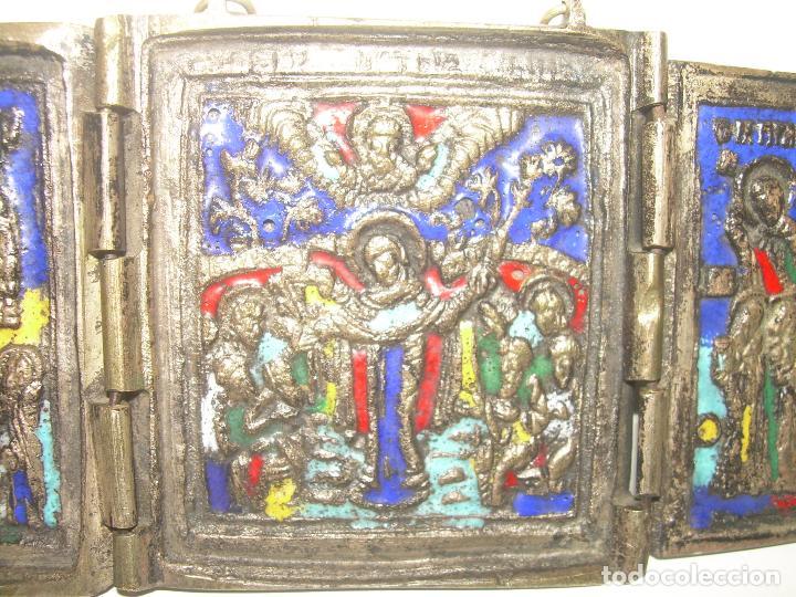 Arte: ANTIGUO ICONO TRIPTICO RELIGIOSO ......DE BRONCE ESMALTADO...SIGLO XIX. - Foto 4 - 92994895