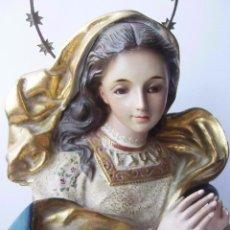 Arte: BUSTO VIRGEN PASTA DE MADERA, DORADO EN ORO FINO, OJOS DE CRISTAL, SIN REPINTES . Lote 93093795