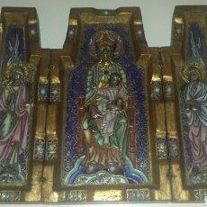 Arte: MODEST MORATO MAGNIFICO TRIPTICO REF 837 VIRGEN JESUS ANGELES ESMALTE BRONCE PIEDRAS PRECIOSAS UNICO. Lote 93125689