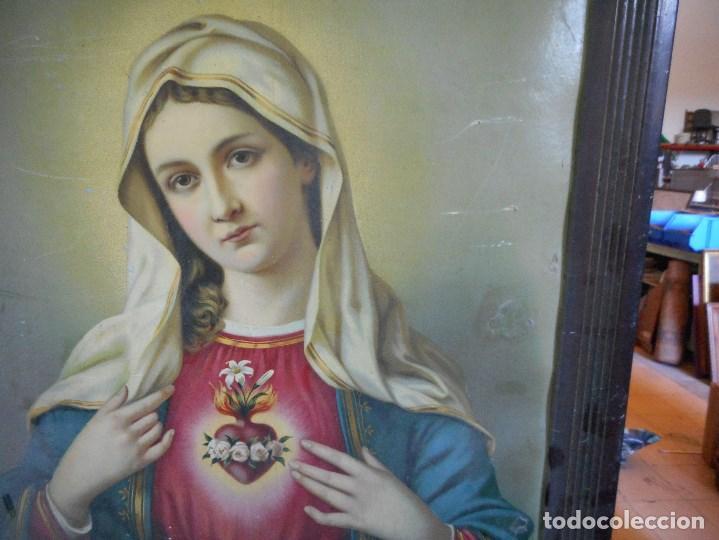 Arte: preciosa virgen sobre carton duro litografia o parecido en marco epoca esquinas metal - Foto 2 - 93154080