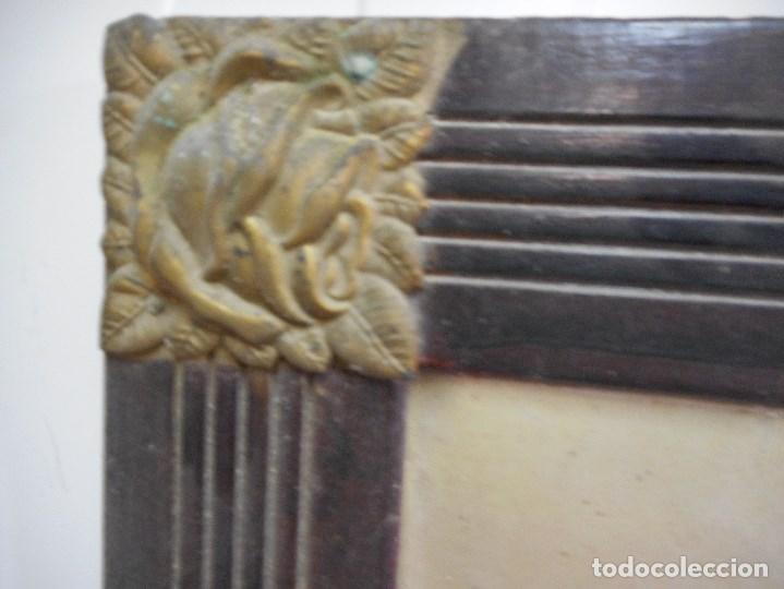 Arte: preciosa virgen sobre carton duro litografia o parecido en marco epoca esquinas metal - Foto 3 - 93154080