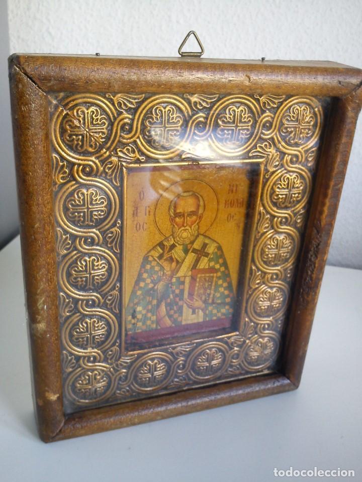 MAGNIFICO IKONE JUIFRE PINTADO A MANO E REVESTIDO POR METAL AU REDOR ANOS 40,50 (Arte - Arte Religioso - Iconos)