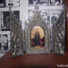 Arte: TRIPTICO DE PEQUEÑO FORMATO CON DOS ÁNGELES CUSTODIANDO AL SANTO . Lote 93229060