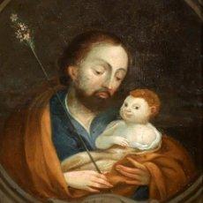 Arte: ESCUELA ESPAÑOLA DEL SIGLO XVIII. OLEO SOBRE COBRE. SAN JOSE CON NIÑO FECHADO DEL AÑO 1767. Lote 93252775
