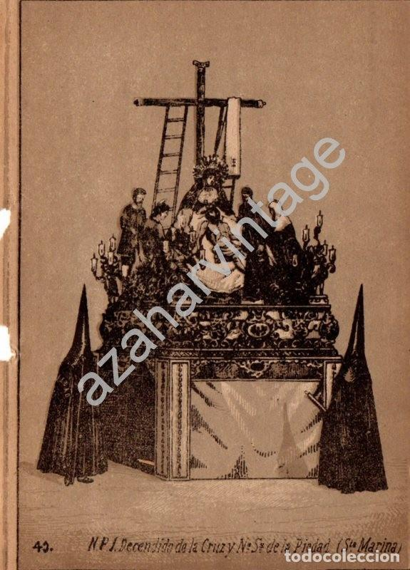 SEMANA SANTA SEVILLA, SIGLO XIX, LITOGRAFIA A TRES TINTAS, LA MORTAJA,108X150MM (Arte - Arte Religioso - Litografías)