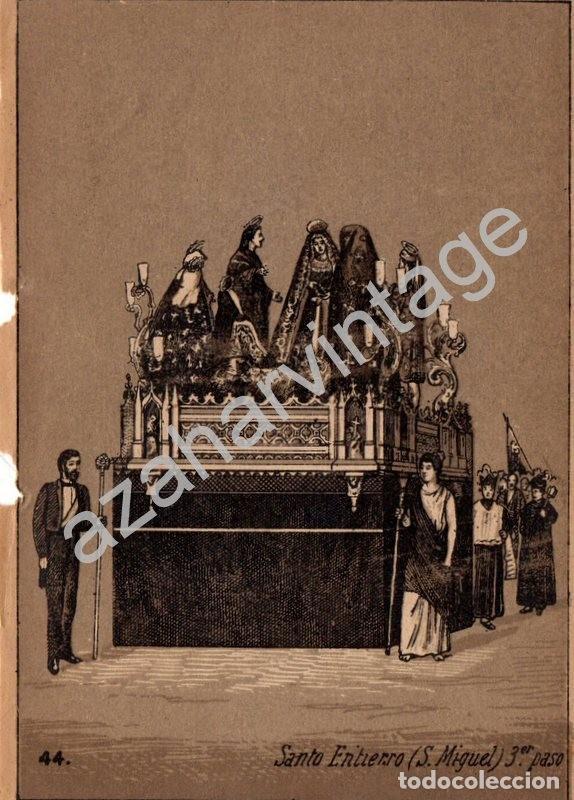 SEMANA SANTA SEVILLA, SIGLO XIX, LITOGRAFIA A TRES TINTAS, PASO DUELO SANTO ENTIERRO,108X150MM (Arte - Arte Religioso - Litografías)