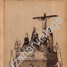 Arte: SEMANA SANTA SEVILLA, SIGLO XIX, LITOGRAFIA A TRES TINTAS, CRISTO DE LAS SIETE PALABRAS,108X150MM. Lote 93327585