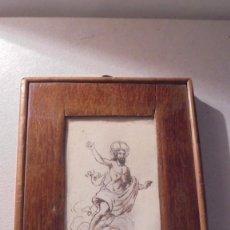 Arte: ANTIGUA PLUMILLA ORIGINAL RELIGIOSA CON SU MARCO DE EPOCA S. XIX - 15,3X11 CM. . Lote 93344810