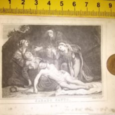 Arte: ESPECTACULAR MINIATURA GRABADO RELIGIOSO SIGLO XIX - SEMANA SANTA DESCENDIMIENTO O PIEDAD - ALABERN . Lote 93559920