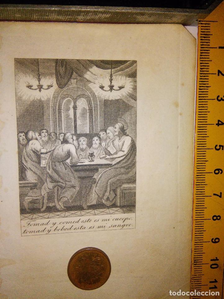 ESPECTACULAR MINIATURA GRABADO RELIGIOSO SIGLO XIX - ULTIMA CENA COULGANDO (Arte - Arte Religioso - Grabados)