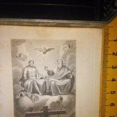 Arte: ESPECTACULAR MINIATURA GRABADO RELIGIOSO SIGLO XIX - SANTISIMA TRINIDAD PADRE HIJO ESPIRITU SANTO. Lote 93590480