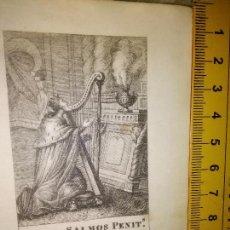 Arte: ESPECTACULAR MINIATURA GRABADO RELIGIOSO SIGLO XIX - DAVID SALMOS PENITS.. Lote 93591700