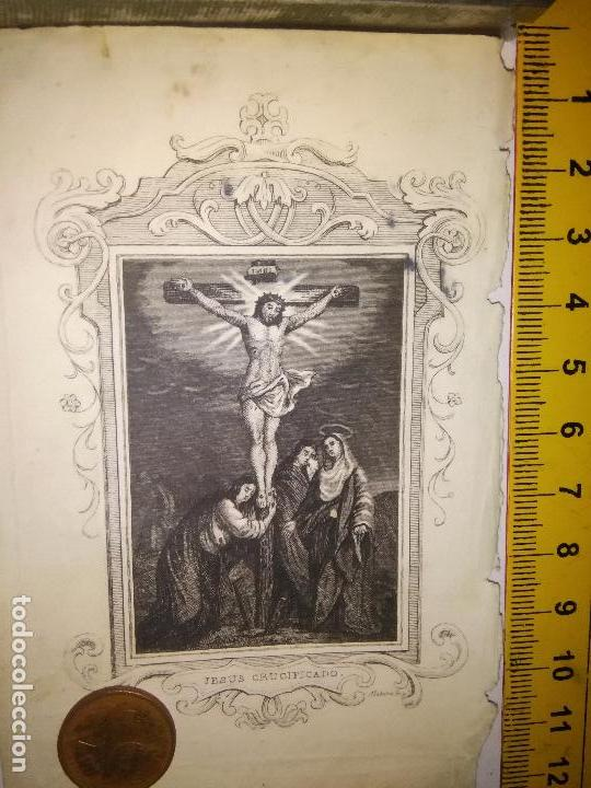 ORIGINAL ESPECTACULAR MINIATURA GRABADO RELIGIOSO SIGLO XIX - JESUS CRISTO CRUCIFICADO VIRGEN SAN J (Arte - Arte Religioso - Grabados)