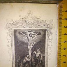 Arte: ORIGINAL ESPECTACULAR MINIATURA GRABADO RELIGIOSO SIGLO XIX - JESUS CRISTO CRUCIFICADO VIRGEN SAN J. Lote 93592150