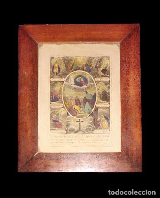 CUADRO DEL PADRE NUESTRO EN FRANCÉS .MUY BONITO. . VER FOTOS. ESPECIAL. (Arte - Arte Religioso - Pintura Religiosa - Otros)