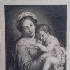 Arte: GRABADO DE SAILLIAR SOBRE UNA OBRA DE DOMENICHINO: VIRGEN Y NIÑO / 1782/ SELLO HÚMEDO Y FIRMA. Lote 93698455