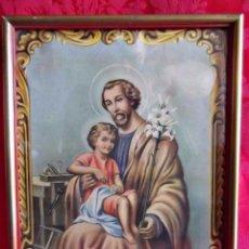 Arte: PRECIOSA LITOGRAFIA SAN JOSE CON NIÑO, YA ENMARCADA. Lote 93727730