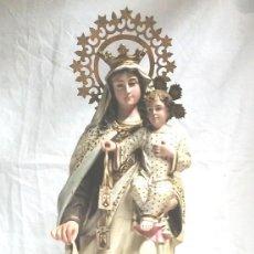 Arte: VIRGEN DEL CARMEN AÑOS 40, ARTE RELIGIOSO OLOT, ACABADOS PRIMERA, PASTA MADERA, MED. 47 CM. Lote 93763415