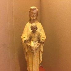 Arte: ESPECTACULAR IMAGEN RELIGIOSA DE SAN JOSE CON EL NIÑO JESUS, EN PASTA DE MADERA. TALLERES DE OLOT.. Lote 115950078