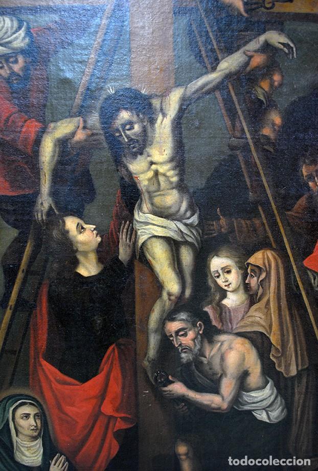 Arte: ÓLEO SOBRE LIENZO SIGLO XIX - EL DESCENDIMIENTO DE JESÚS - Foto 2 - 93789965