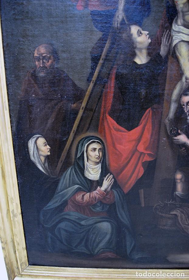 Arte: ÓLEO SOBRE LIENZO SIGLO XIX - EL DESCENDIMIENTO DE JESÚS - Foto 3 - 93789965