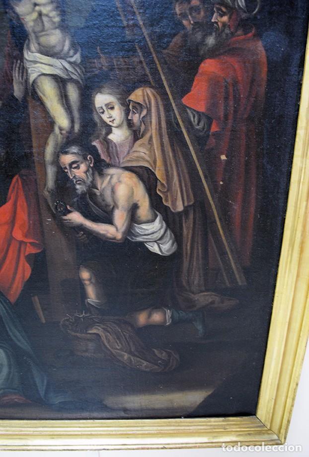 Arte: ÓLEO SOBRE LIENZO SIGLO XIX - EL DESCENDIMIENTO DE JESÚS - Foto 4 - 93789965